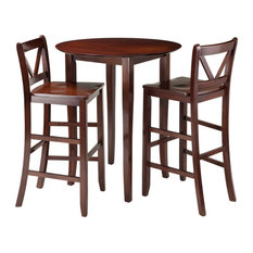 Fiona 3-Piece High Round Table With 2 Bar V-Back Stools