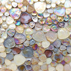 Iridescent Glitter Pebble Glass Mosaic Tile, Champagne