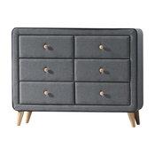 Valda Upholstered Dresser, Light Gray Fabric