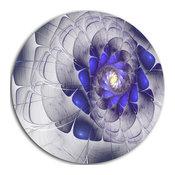 "Fractal Flower Grey Blue Digital Art, Floral Round Metal Wall Art, 11"""
