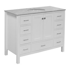 "Horizon 48"" Bathroom Vanity, White, Top: Carrara Marble"