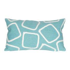 """Squares Aqua Pillow, 12""""x20"""""""