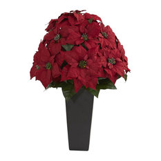27 in. Poinsettia Artificial Plant in Red