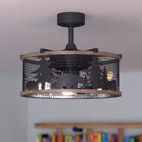 "Kodiak Bear 21"" Bronze and Teak Rustic Indoor Ceiling Fan Light Kit Remote"