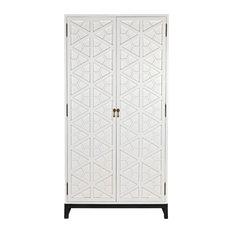 """99.5"""" T Morgan Hutch Solid Mahogany Black Metal Base Hexagon Pattern Doors"""