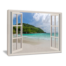 """Open Window To Calm Seashore"" Seashore Canvas Art, 40""x30"""
