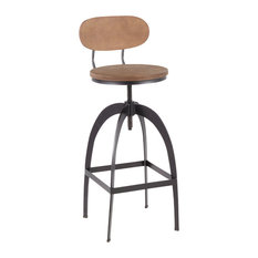 Dakota Industrial Mid-Back Barstool Black Metal And Medium Brown Wood