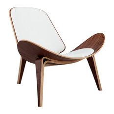 Tripod Plywood Modern Lounge Chair, Genuine Italian Leather, Wihte, Walnut