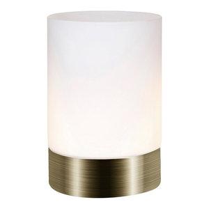 Small Antique Brass Touch Dimmable Table Lamp with Frosted Glass Shade