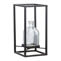 """Glass Flower Vase With Iron Frame 5x5x10"""""""