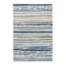 Lauren Wan Sketchy Lines Indoor/Outdoor Abstract Silver/Blue Area Rug, 9'x12'