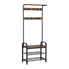 Decor Love - Modern Design Coat Stand With 3 Shelves and 9 Hooks, Black - Hall Trees