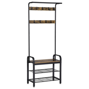 Modern Design Coat Stand With 3 Shelves and 9 Hooks, Black