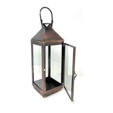 "Serene Spaces Living Copper Finish Steel & Glass Square Lantern, 12""& 4"""