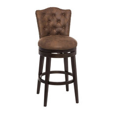 """Hillsdale Edenwood 37.3"""" Faux Leather Swivel Counter Stool, Chocolate"""