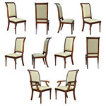 Niagara Furniture - Tall Back Upholstered Chairs, Set of 10 - The set of Tall Back Upholstered Chairs by Niagara Furniture consists of 2 armchairs and 8 matching side chairs. The chairs in this set are both finely detailed and deceptively simple in appearance. If that is the type of chair you are seeking then invite this set home to help turn your dining room into a designer showcase. Great height gives the chair a real presence around the dining table, visible carvings above the table line lend detail and distinction to the upper section of the back while the remainder of the chair is restrained in design and elegant.The set of Tall Back Upholstered Chairs ship out ready to use with our most popular fabric; the upholstery can be easily substituted for your own choice of fabric due to our use of the time saving drop in seat feature which can be easily removed by unfastening four screws.