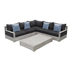 OVE Decors Beranda II 3-Piece Wood Frame Gray Patio Sectional Set