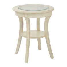 Office Star Products   Harper Round Accent Table, Glass Top, Antique White  Wood Finish