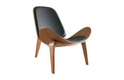 Modern Shell Chair Single Side Chair Tripod Black Leather Lounge Chair