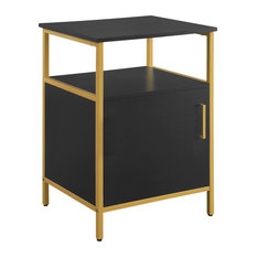 Modern Life Black Utility Table Printer Storage Stand with Gold Metal Legs