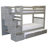 Bedz King Bunk Beds Twin over Twin Stairway, 4 Step Drawers, Twin Trundle, Gray