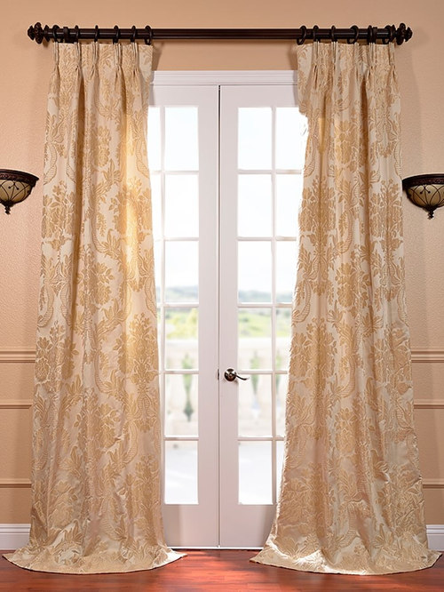 magdelena champagne french pleat faux silk jacquard curtain curtains