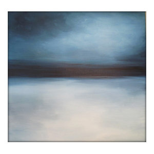 Large Abstract Painting on Canvas Modern Acrylic Skyline- 36x36- Grays, Blues, W