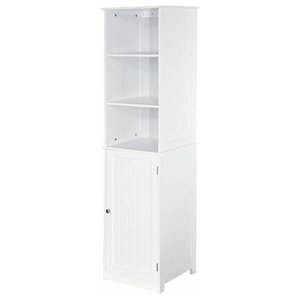 Traditional Floor Standing Storage Cabinet in MDF with White Finish, 3 Shelves