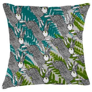 Paradise Velvet Cushion, Jumping Hares