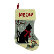 Glitzhome - Hooked Christmas Stocking With Cat - Christmas Stockings and Holders