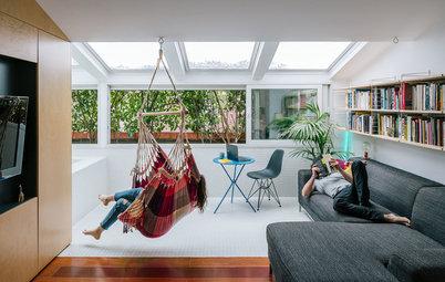 Houzzbesuch: Ein umgebautes Penthouse mit Pool im Wohnzimmer