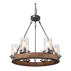 LNC 6-Light Wood Chandeliers Rustic Pendant Lighting Circular Ceiling Lights