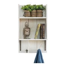 "Reclaimed Wood Bathroom Shelf, 29""x17""x6"", White"
