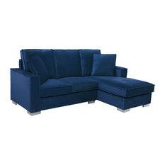 Classic Velvet Upholstered Small Space Sectional Sofa, Navy