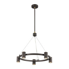 Southport 5 Light Chandelier in Matte Black With Satin Brass