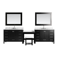 "Two London 48"" Single Sink Vanity Set With Make-Up Table, Espresso"