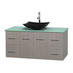 48 in. Single Bathroom Vanity in Gray Oak, Green Glass Countertop, Arista Black