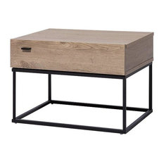 Cairo Brown Wood Nightstand With Metal Base