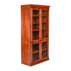 Traditional Alder Bookcase with Glass Doors