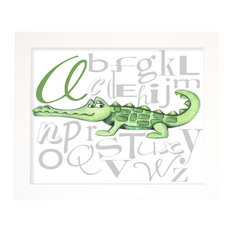 Alligator Alphabet Wall Art, Green