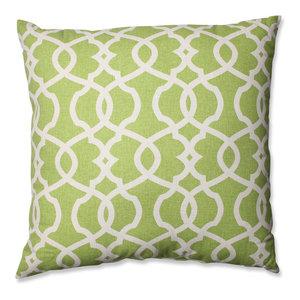 "Lattice Damask Blue 23"" Floor Pillow, Leaf"