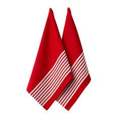 Ladelle Set of 2 Butcher Stripe Series II Red Tea Towels