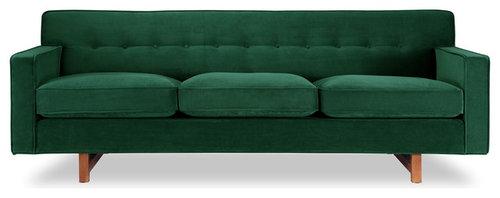 Kennedy Midcentury Modern Clic Sofa Jade Material Velvet More Info
