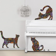 My Wonderful Walls - Cat Wall Stickers, Set of 3 Floral, Small, As
