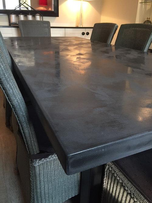2.2 Metre Dark Charcoal Polished Concrete Table