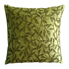 "Luxury Green Beaded Leaf Pillows Cover, Art Silk 18""x18"" Pillow Cover, Tropical"