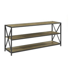 """60"""" X-Frame Metal and Wood Console Table, Rustic Oak"""