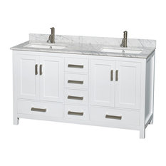 "Sheffield 60"" White Double Vanity, Carrera Marble Top, Undermount Square Sink"
