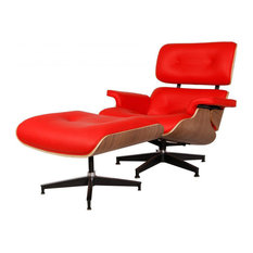Aniline Leather Lounge Chair and Ottoman, Seat: Red, Base: Walnut