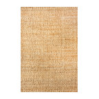 Hand Woven Natural Solid Jute Rug, Natural, 6